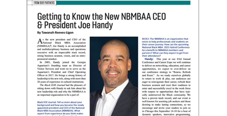 Black EOE Journal: Getting to Know the New NBMBAA<sup>®</sup> President & CEO Joe Handy